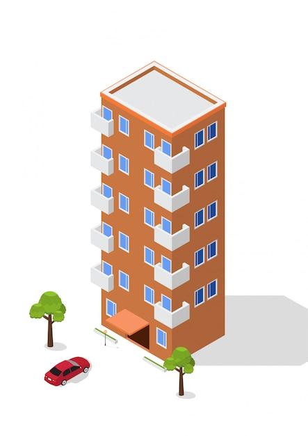 Condominio isometrico Vettore Premium