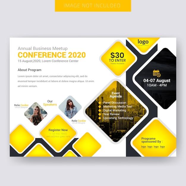 Conferance orizzontale flyer design Vettore Premium