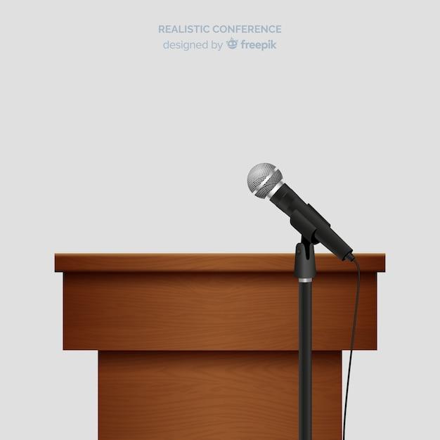 Conferenza di leggio realistica con microfono Vettore gratuito