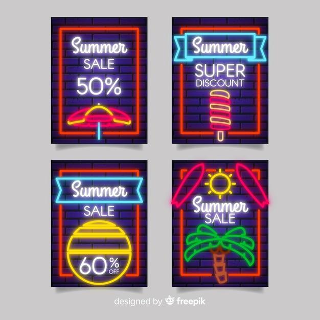 Confezione banner vendita neon estate Vettore gratuito