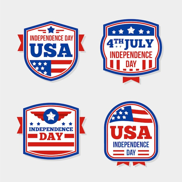 Confezione da design piatto 4 luglio etichetta Vettore gratuito
