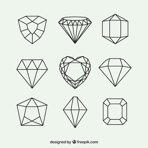 Confezione da diamanti geometriche Vettore gratuito
