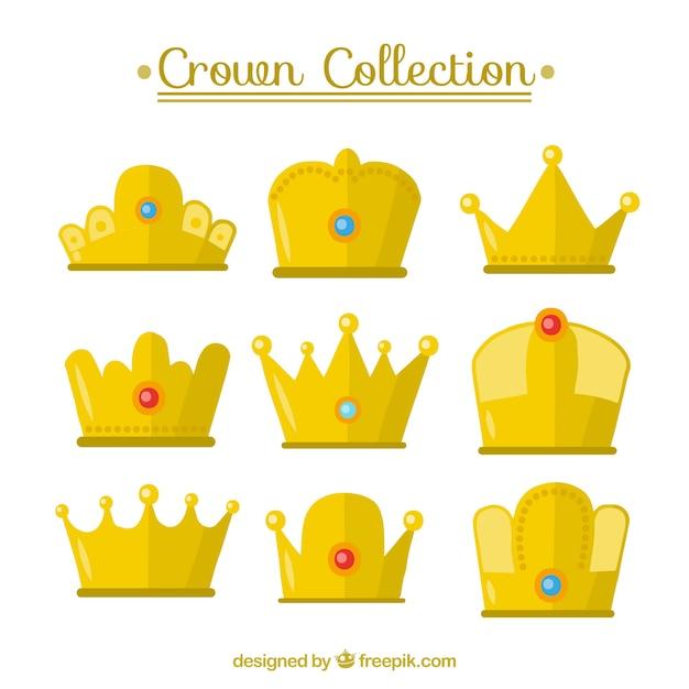 Confezione da nove corone d'oro Vettore gratuito