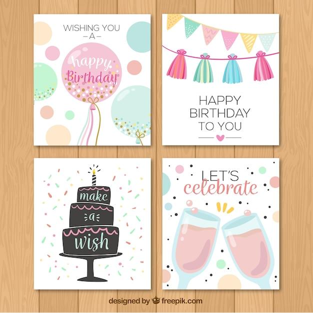 Confezione da quattro carte di buon compleanno in stile retrò Vettore gratuito