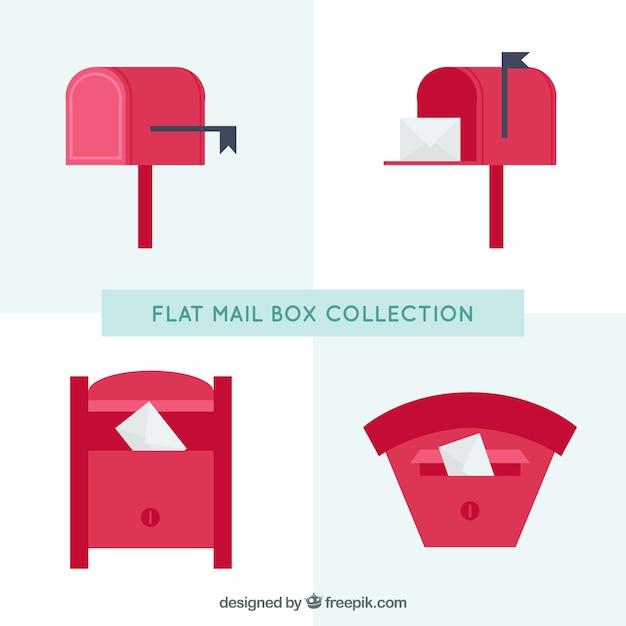 Confezione da quattro caselle di posta rossi in design piatto Vettore gratuito