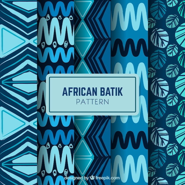 Confezione da quattro modelli di batik africani Vettore gratuito