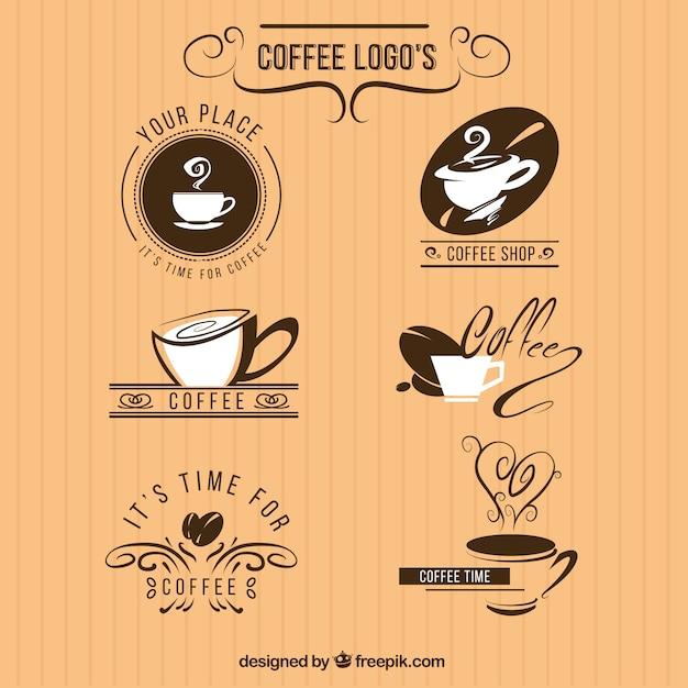Confezione da sei loghi per un coffee shop Vettore gratuito