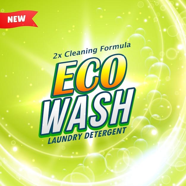 Confezione del detersivo concetto di design che mostra eco pulizia gentile e lavaggio Vettore gratuito