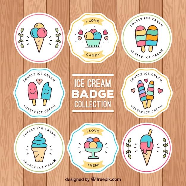 Confezione di adesivi di gelato in stile lineare Vettore gratuito
