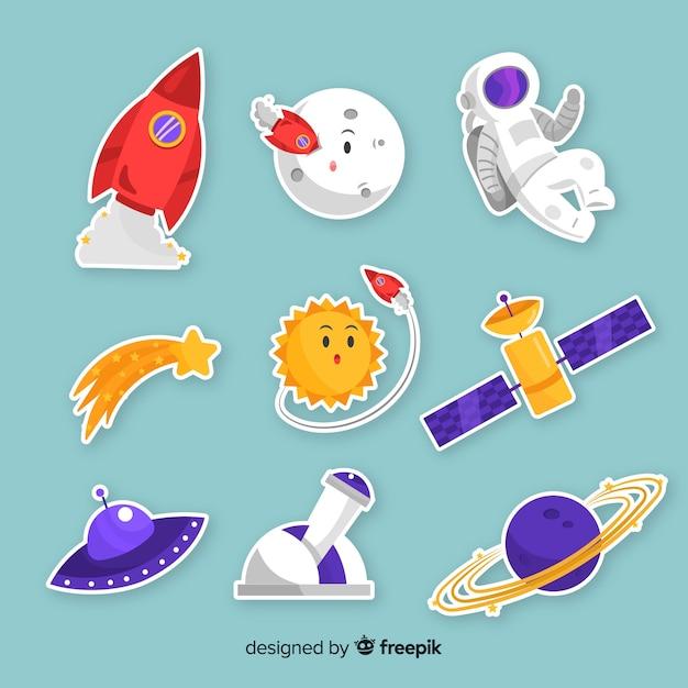 Confezione di adesivi spaziali moderni illustrati Vettore gratuito
