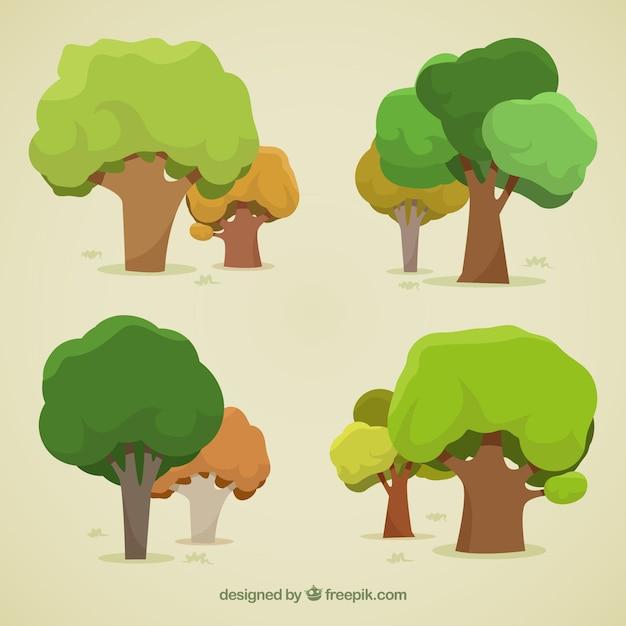 Confezione di alberi in stile 2d Vettore gratuito