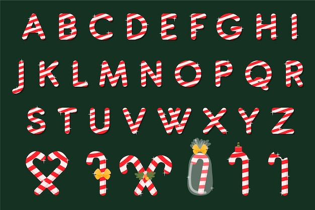 Confezione di alfabeto di natale di canna di caramella Vettore gratuito