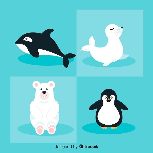 Confezione di animali marini invernali Vettore gratuito