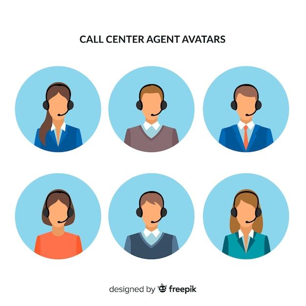 Confezione di avatar di call center Vettore gratuito