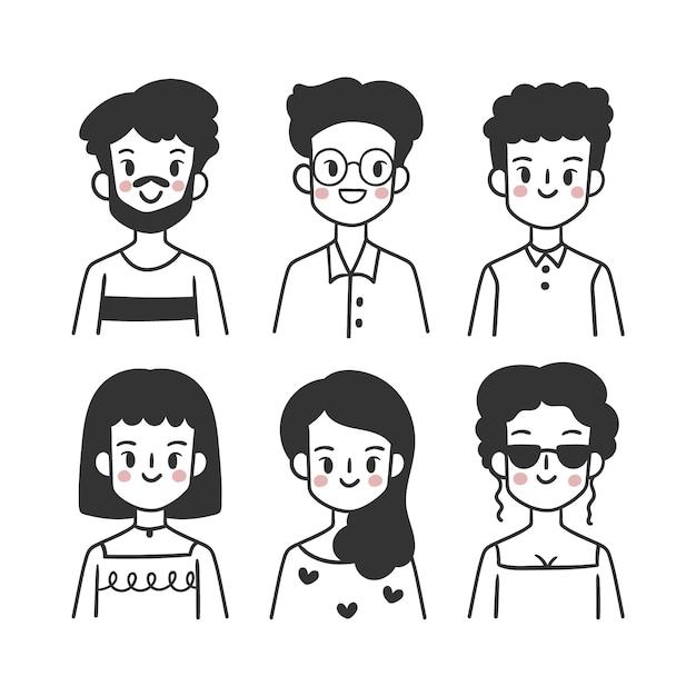 Confezione di avatar di persone Vettore gratuito