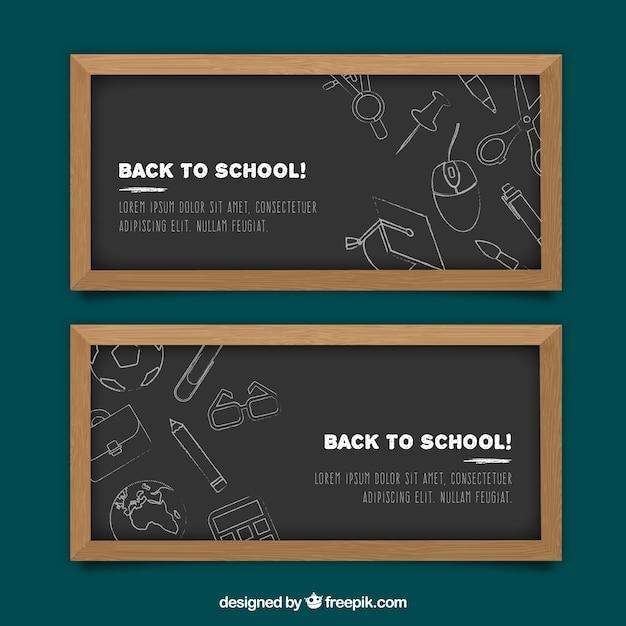 Confezione di banner back to school con lavagne Vettore gratuito