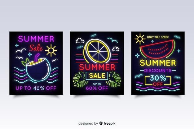 Confezione di banner di vendita estate segno al neon Vettore gratuito