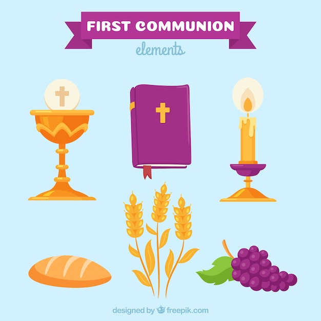 Confezione di bibbia con altri elementi religiosi Vettore gratuito