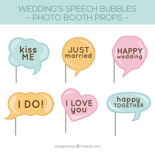 Confezione di bolle di discorso per il matrimonio photo booth Vettore gratuito