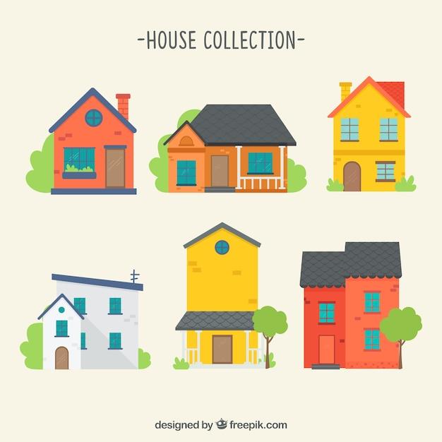 Confezione di case colorate Vettore gratuito