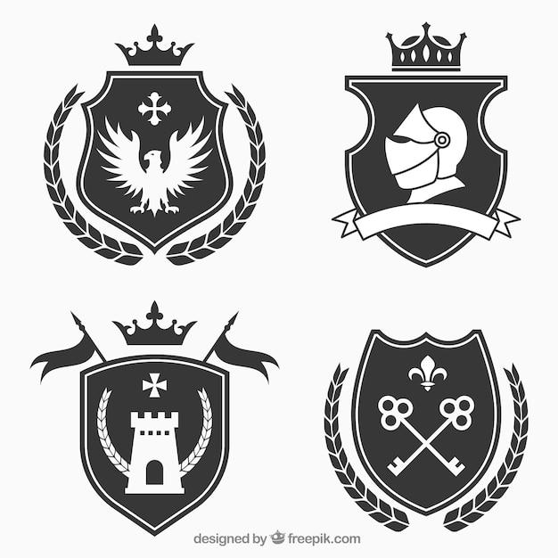 Confezione di design dell'emblema del cavaliere Vettore gratuito
