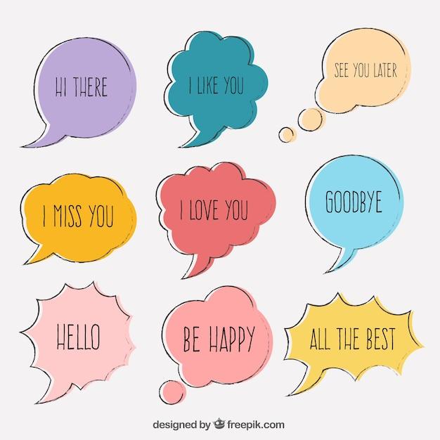 Confezione di disegnati a mano discorso bolle colorate con frasi Vettore gratuito