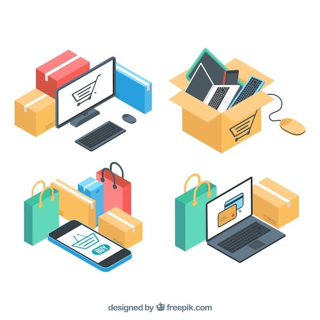 Confezione di dispositivi elettronici e acquisto online in stile isometrico Vettore gratuito
