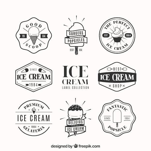 Confezione di distintivi decorativi con gelati in design piatto Vettore gratuito