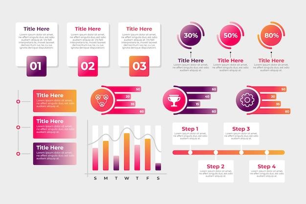 Confezione di diversi elementi infografici Vettore gratuito
