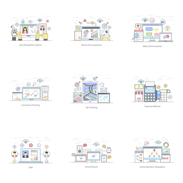 Confezione di e business illustrazione piatta Vettore Premium