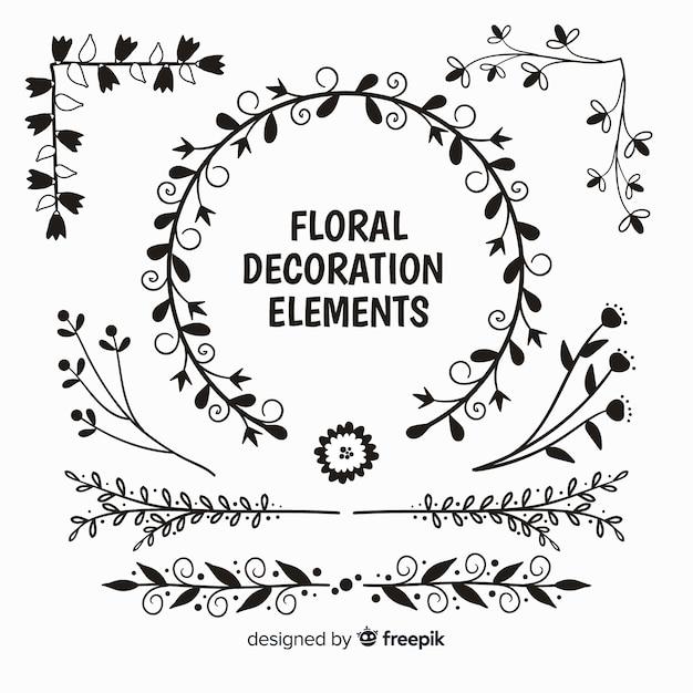 Confezione di elementi decorativi floreali incolori Vettore gratuito