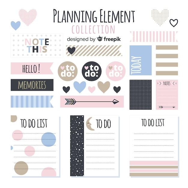 Confezione di elementi di pianificazione Vettore gratuito