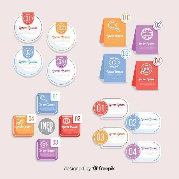Confezione di elementi infographic colorati Vettore gratuito