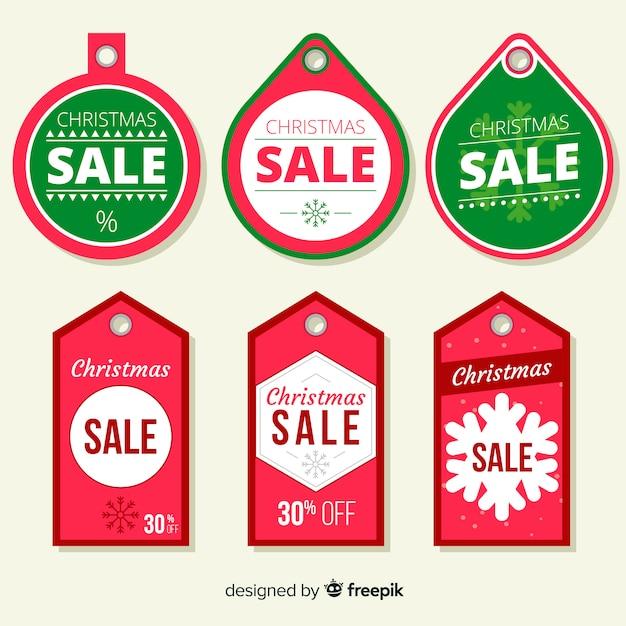 Confezione di etichette natalizie Vettore gratuito