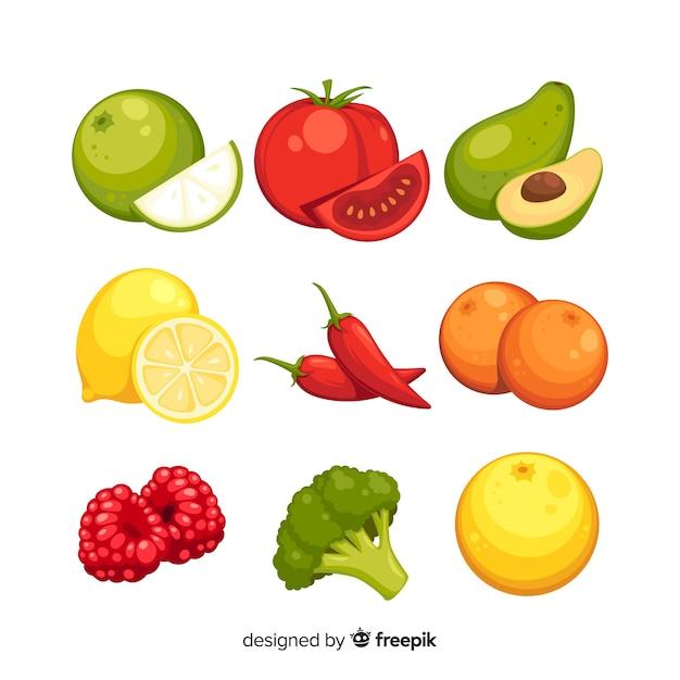 Confezione di frutta e verdura disegnata a mano colorata Vettore gratuito