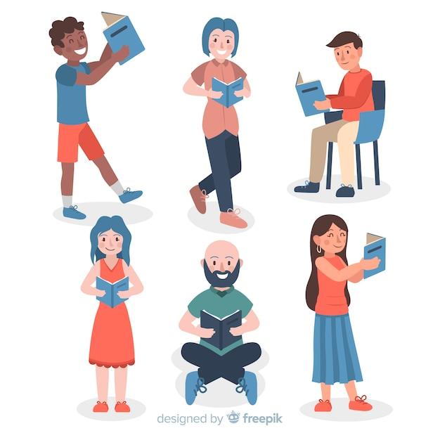 Confezione di giovani che leggono libri Vettore gratuito