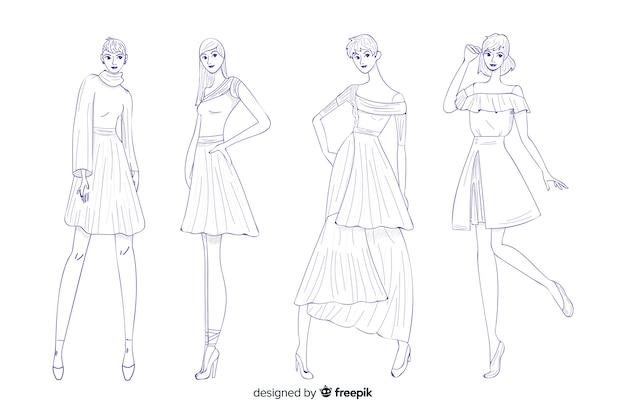 Confezione di illustrazioni di moda disegnati a mano design Vettore gratuito