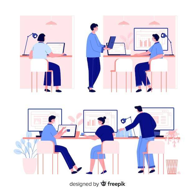 Confezione di impiegati seduti ai banchi Vettore gratuito