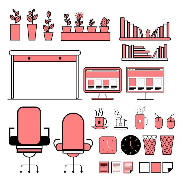 Confezione di info-grafica di vettore piatto attrezzature per ufficio Vettore gratuito