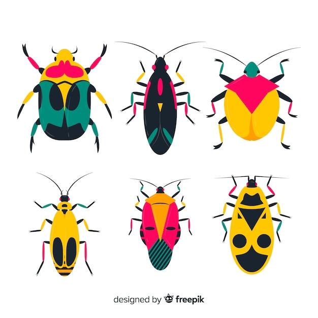 Confezione di insetti piatta Vettore gratuito