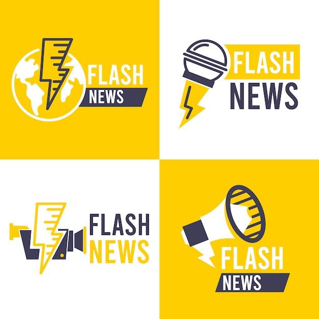 Confezione di loghi di notizie Vettore gratuito
