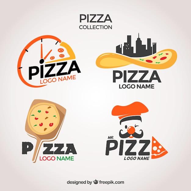 Confezione di loghi pizzerie Vettore gratuito