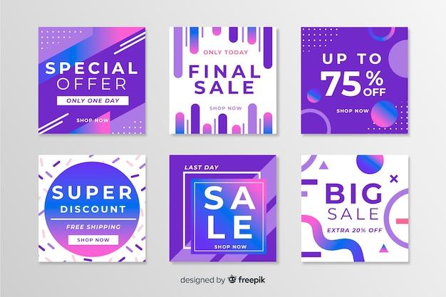 Confezione di moderni banner di vendita per i social media Vettore gratuito