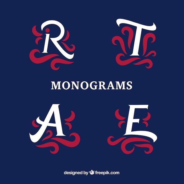 Confezione di monogrammi decorativi Vettore gratuito