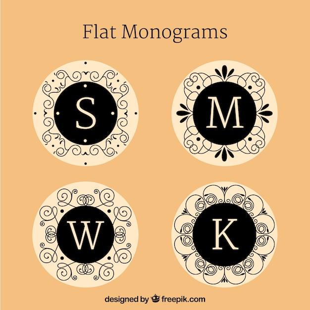 Confezione di monogrammi eleganti in design piatto Vettore gratuito