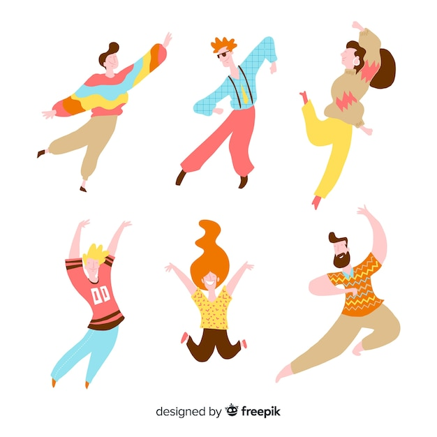 Confezione di persone disegnate a mano danza Vettore gratuito