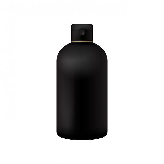 Confezione di prodotti di bellezza neri cosmetici bottiglia su bianco isolato Vettore Premium