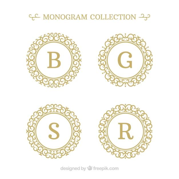 Confezione di quattro monogrammi d'oro Vettore gratuito