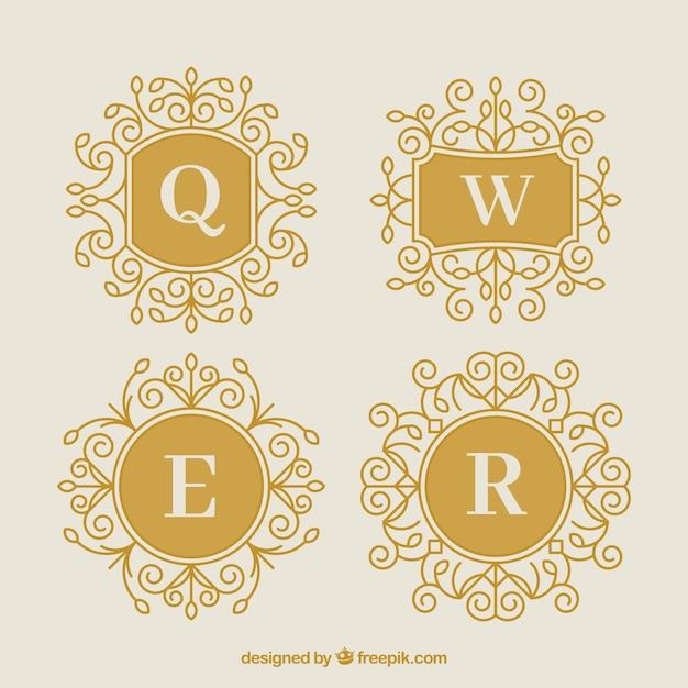 Confezione di quattro monogrammi decorativi d'oro Vettore gratuito