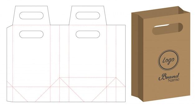 Confezione di sacchetto di carta fustellata Vettore Premium